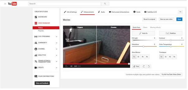 Editor de videos de YouTube