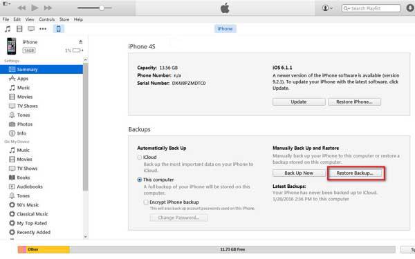 Restaurar com um backup do iTunes