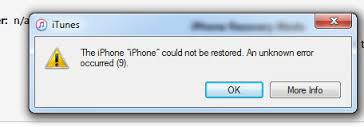 iTunes iphone não restaura