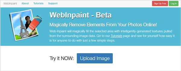 Abra o site WebInpaint