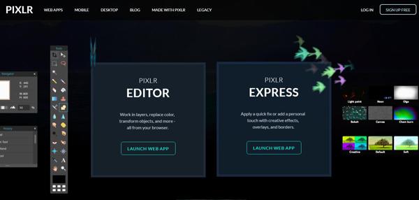 Abra o site do Pixlr