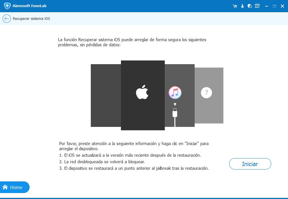 detectar problema para reparación sistema iOS