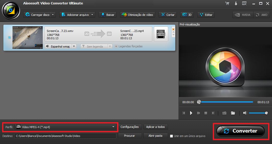 Passo 3 converter vídeo vlod após edição vídeo