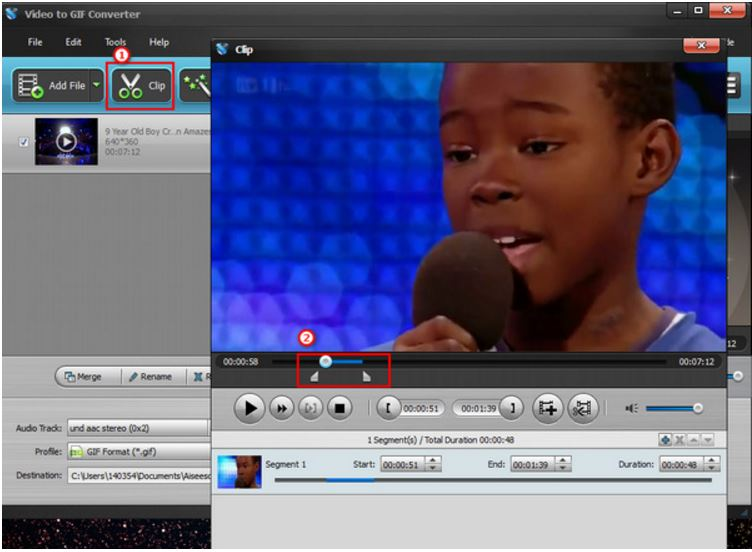 Crear GIF en YouTube