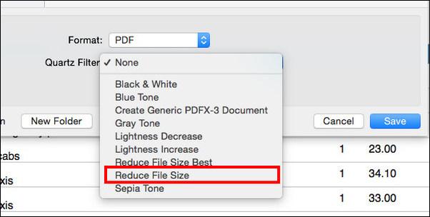 Selecione a opção para reduzir o tamanho do arquivo