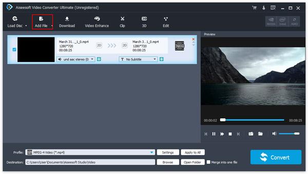 Importe o arquivo MP4 desejado