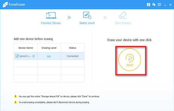 Use o FoneEraser para redefinir seu dispositivo