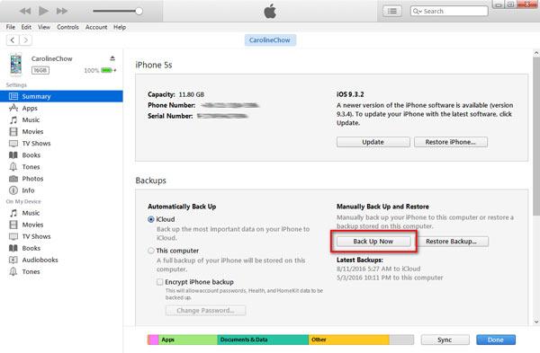 Inicie um backup com o iTunes