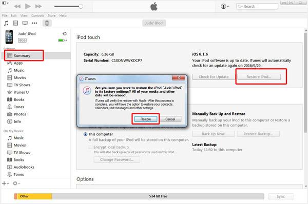 Use o iTunes para restaurar seu dispositivo iOS