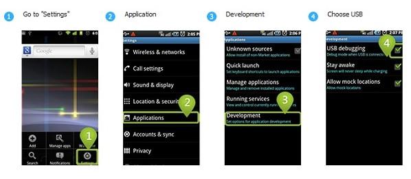 Depuración de USB en Android