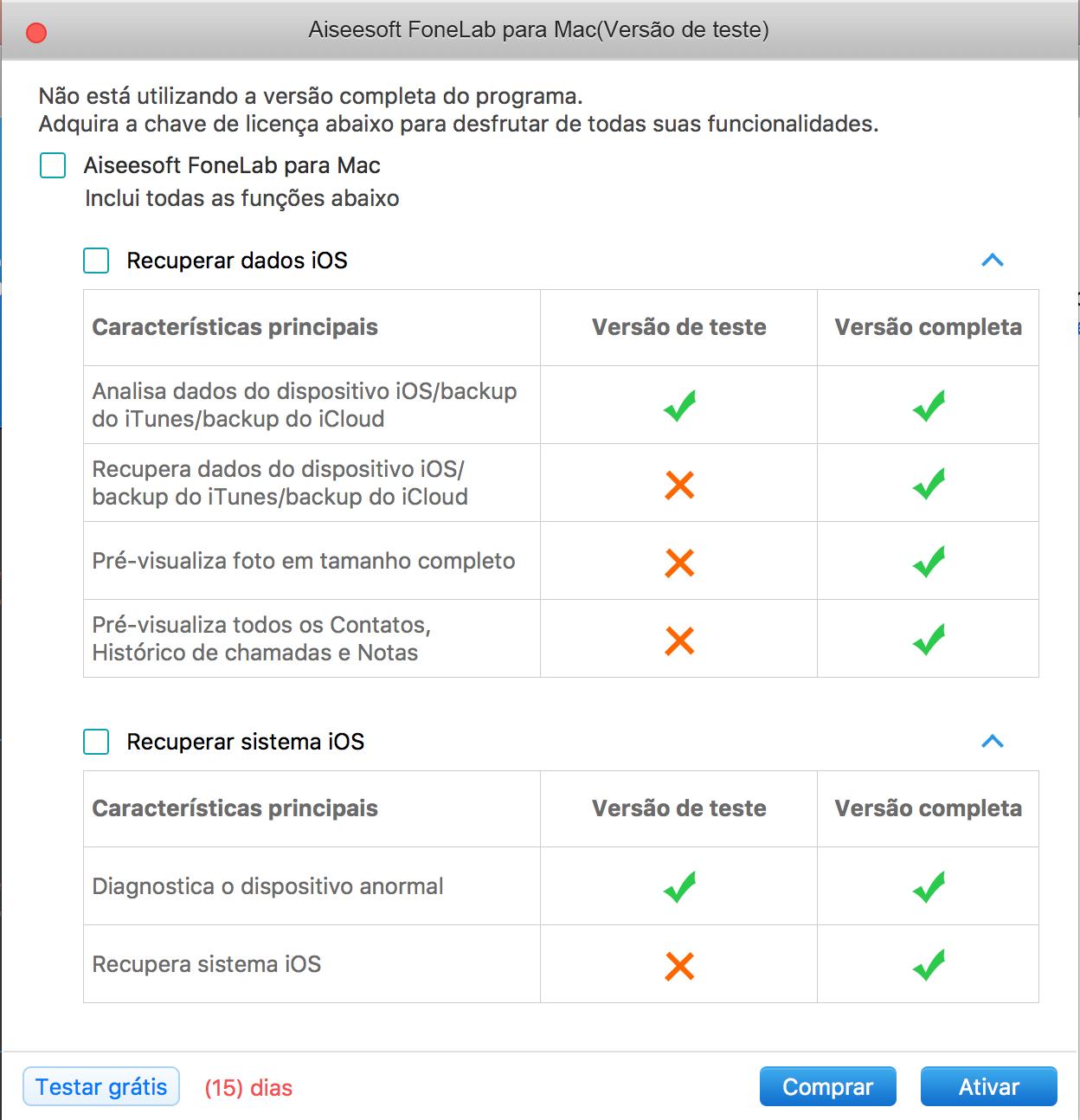 Tela de início do FoneLab System Repair para Mac