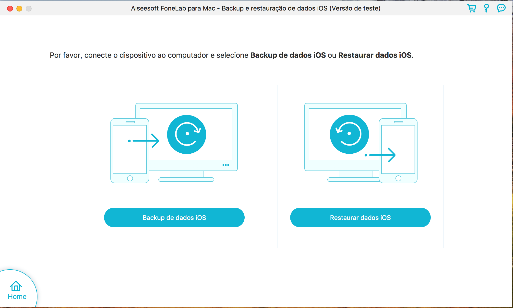 Escolher entre criar backup ou restaurá-lo