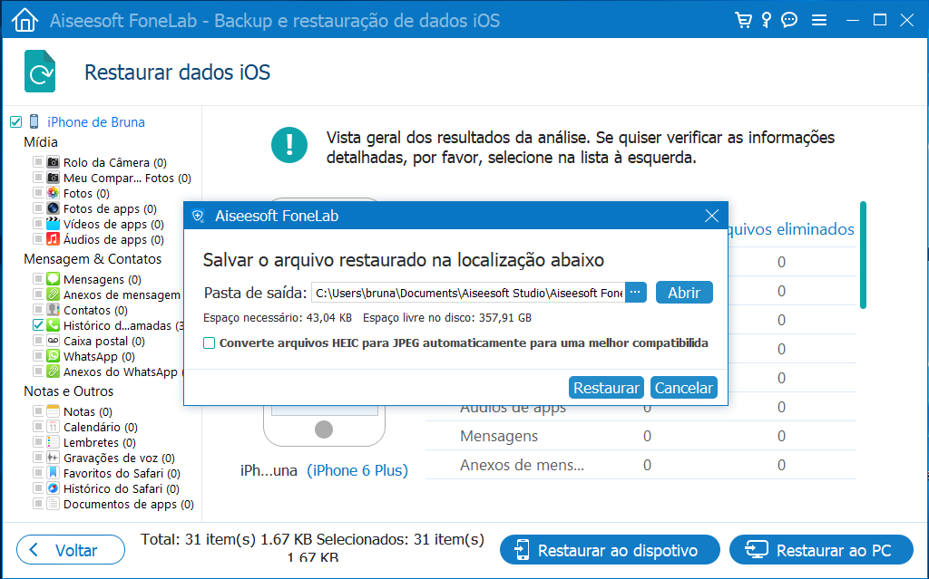 Seleccionar rota para salvar arquivos do backup no PC
