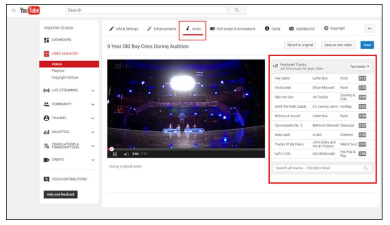 Añadir música a video de YouTube