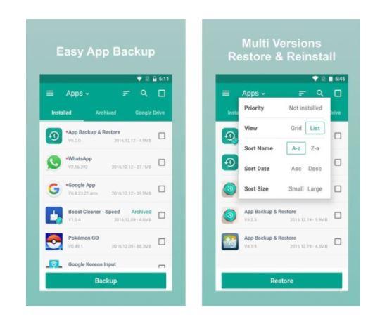 App copia de seguridad y restauración