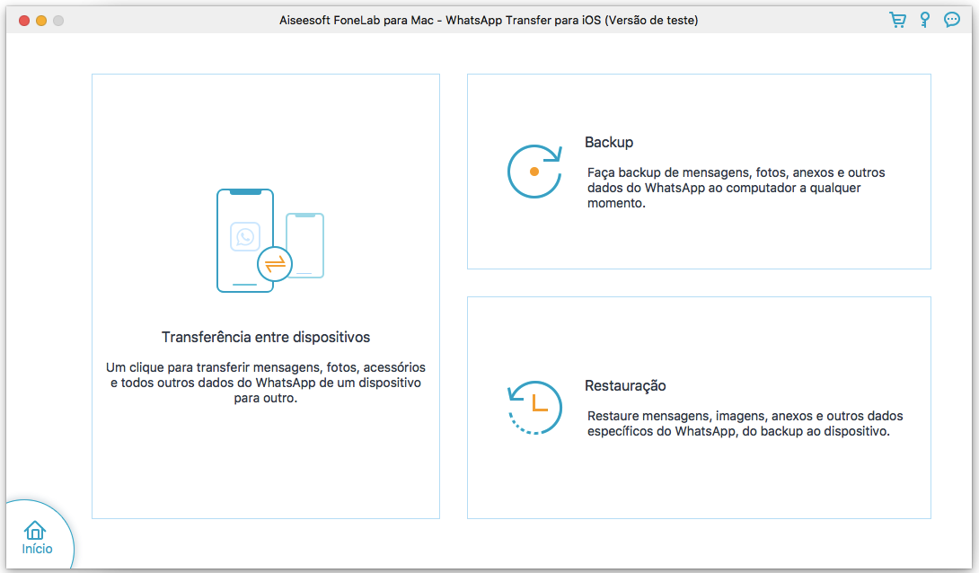 Interface do FoneLab WhatsApp Transfer para Mac