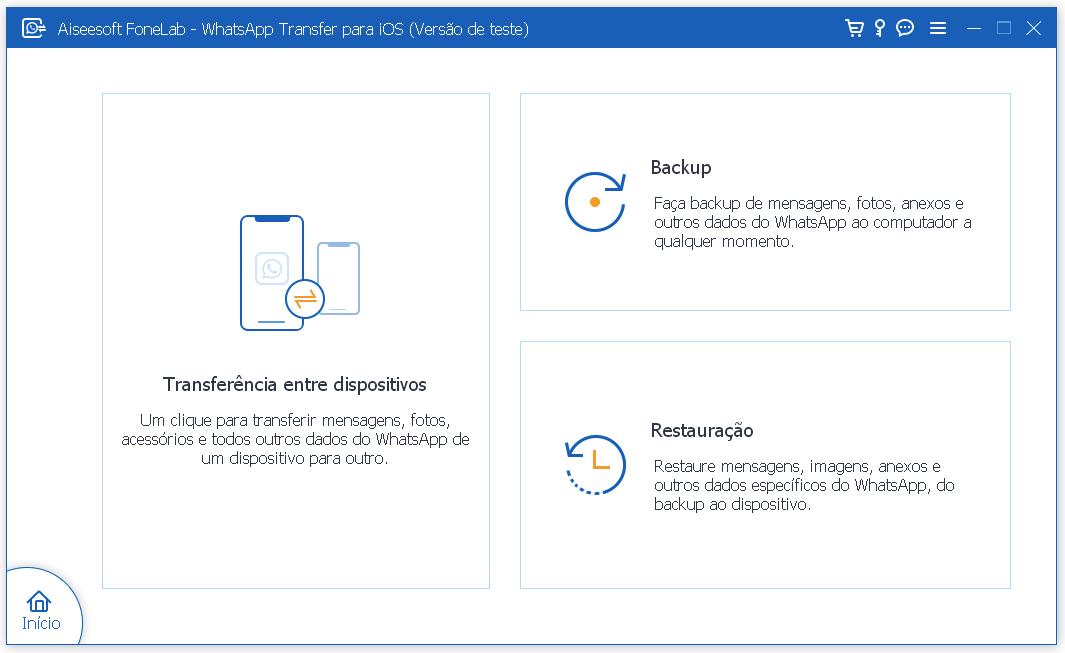 Interface do FoneLab WhatsApp Transfer