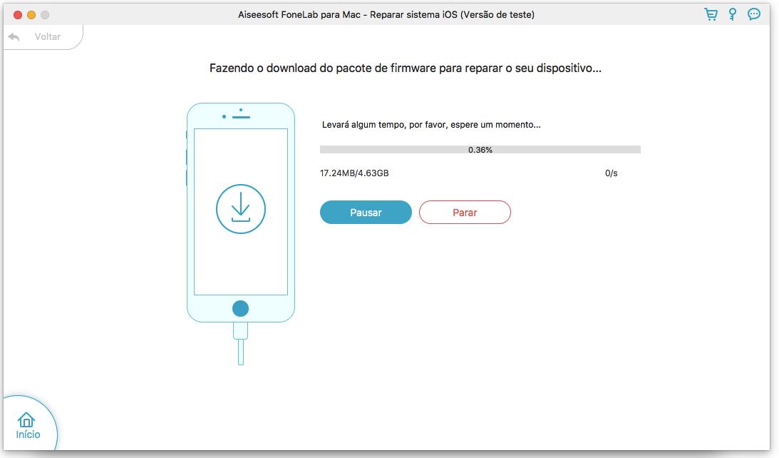Iniciar a análise do dispositivo iOS