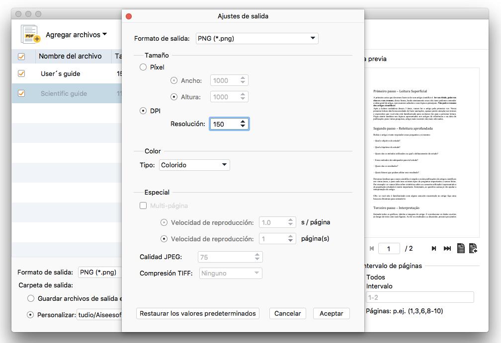 Ajustes de conversión de formato de Imagen