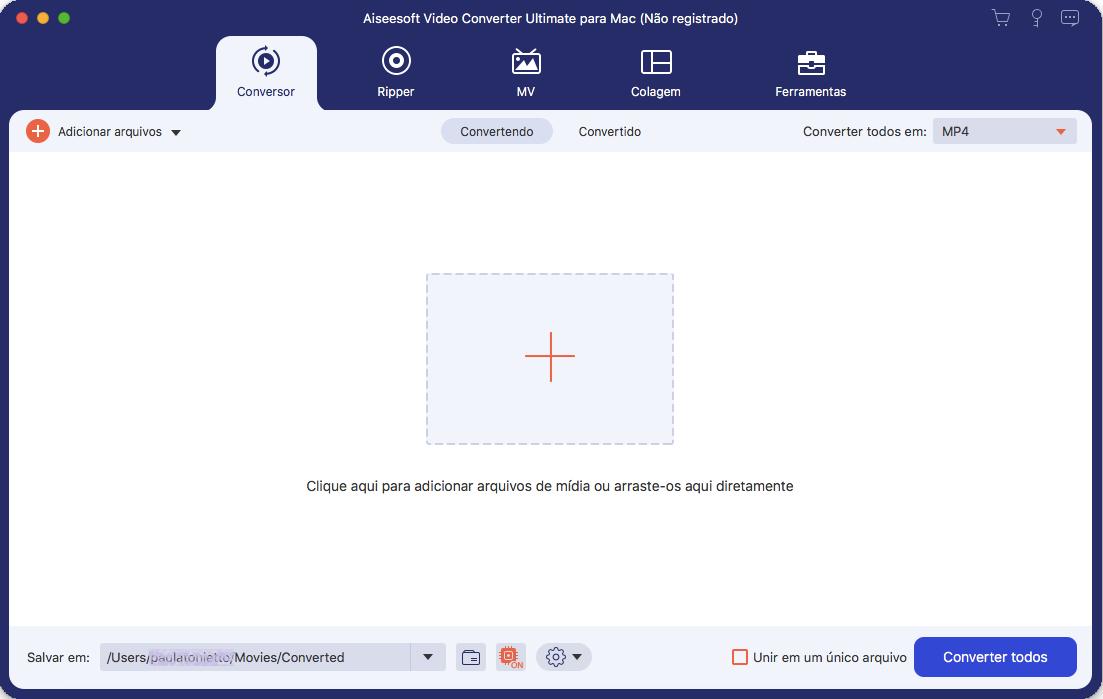 Painel principal do Aiseesoft Video Converter Ultimate para Mac